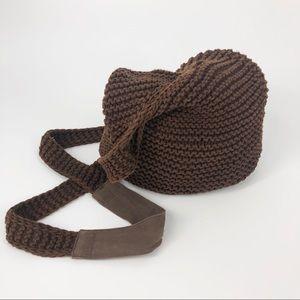 American Eagle 🦅 Brown Knit Boho Crossbody Bag